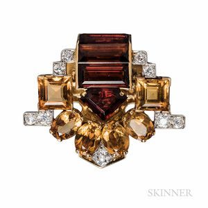 Retro Cartier Citrine and Diamond Dress Clip