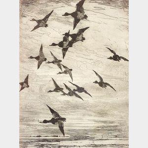 Frank Weston Benson (American, 1862-1951)    High Flying Ducks