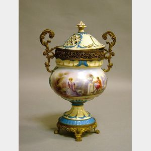 French Sevres-style Porcelain and Ormolu Mounted Potpourri Urn.