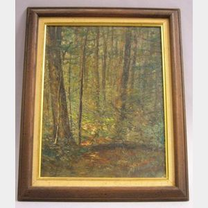 Framed Oil on Panel of a Woodland Interior