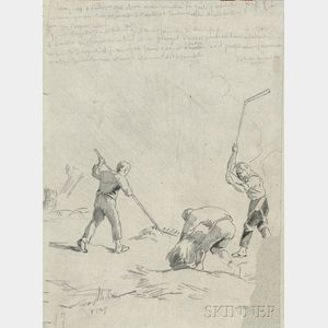 Attributed to Jean François Millet (French, 1814-1875)      Le travail aux champs