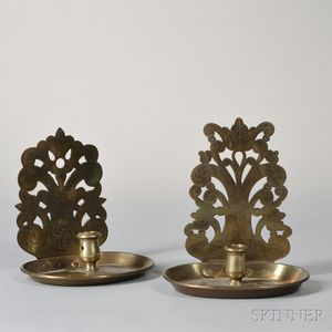 Two Brass Candle Sconces