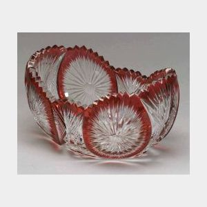 Baccarat Ruby Overlay and Colorless Cut Glass Center Bowl