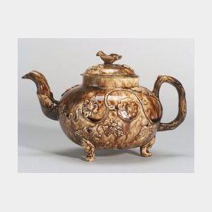 Staffordshire Brown Tortoiseshell Glazed Creamware Teapot and Cover