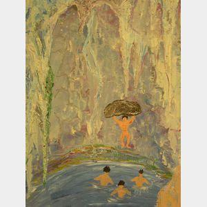 Framed Oil of Bathers.