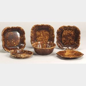 Five Rockingham Glazed Pottery Dishes and a Pudding Mold