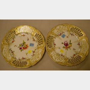 Pair of KPM Porcelain Enamel Decorated and Reticulated Plates