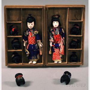 Two Ishii Shoten Carved and Painted Bamboo Figures