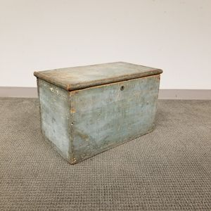 Small Blue-painted Pine Six-board Box