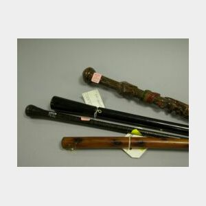 Bermudan Cedar, Folk Carved Wood and Two Wooden Walking Sticks.