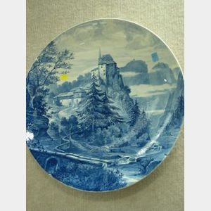 Large German Blue and White Scenic Decorated Ceramic Plaque.
