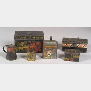 Six Paint-Decorated Tinware Items