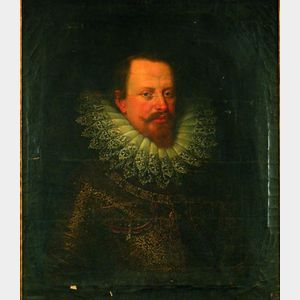 Manner of Justus Sustermans (Flemish, 1597-1681) Portrait of a Gentleman in Armor With a Medallion of the ...
