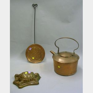 Copper Water Kettle, Turtle-form Mold, and a Copper and Wrought Iron Skimmer.