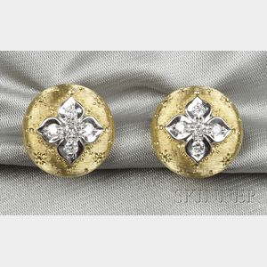 18kt Bicolor Gold and Diamond Earclips
