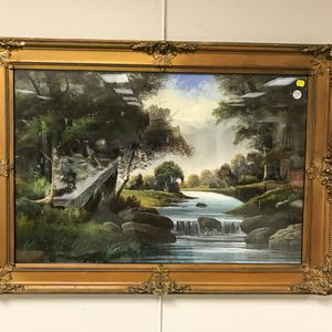 American School, 20th Century       Wooded Landscape with Waterfall