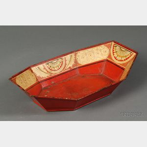 Gilt and Paint Decorated Red Tinware Tray