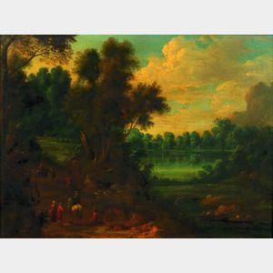 School of Jan Brueghel the Elder (Flemish, 1568-1625)    Wood-road by Pond