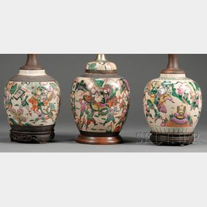 Three Korean Porcelain Jars Mounted as Lamps