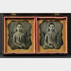 Two Sixth Plate Daguerreotype Portraits of Twins