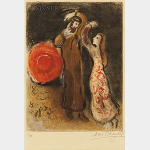 Marc Chagall (Russian/French, 1887-1985)      The Meeting of Ruth and Boaz