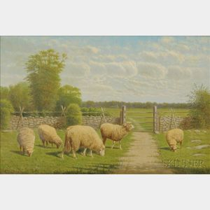 Clinton Loveridge (American, 1824-1902)    The Grazing Flock.