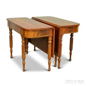 Classical-style Inlaid Mahogany Two-part Dining Table