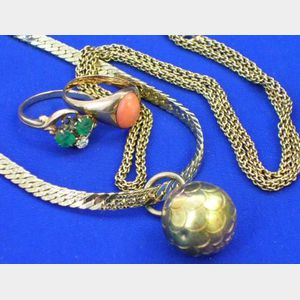 14kt Gold, Diamond and Emerald Ring, 14kt Gold and Coral Ring, and Two Chains