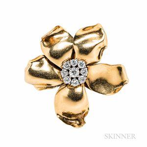 Cartier 18kt Gold, Platinum, and Diamond Flower Brooch