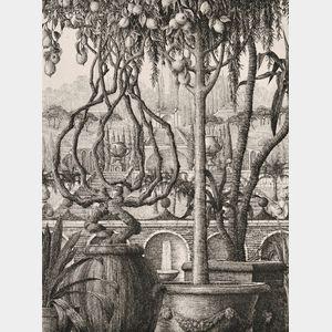 François Houtin (French, b. 1950)      Two Garden Views: Terrasse des Fontaines
