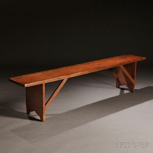 Shaker Salmon Red-painted Pine Bench