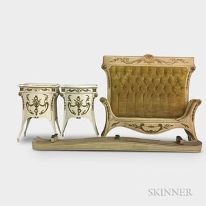 Pair of Neoclassical-style Painted Wood Beds and Nightstands.