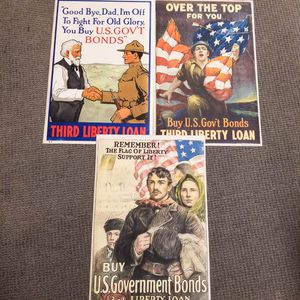 Three WWI Third Liberty Loan Lithograph Posters