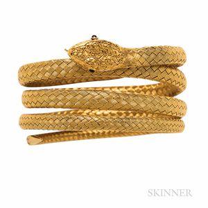 Antique Gold Snake Bracelet