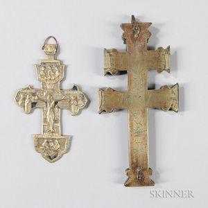 Two Brass Russian Crosses