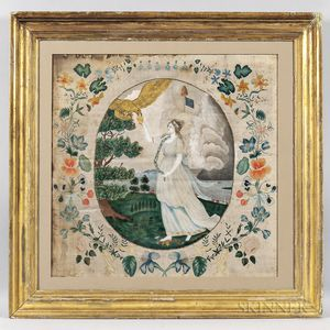 """Watercolor on Silk Picture After Edward Savage """"Liberty in the Form of the Goddess of Youth,"""""""