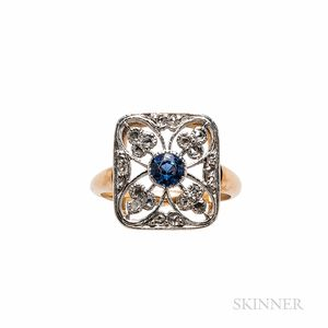 Art Deco Sapphire and Diamond Plaque Ring