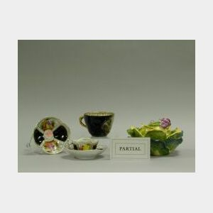 Approximately Twenty European Cups and Saucers, Covered Cabbage-form Bowl and Paris Porcelain Platter.
