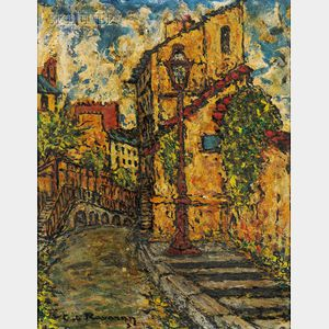 French School, 20th Century      Lot of Two Street Scenes: Rue de l'Abreuvoir