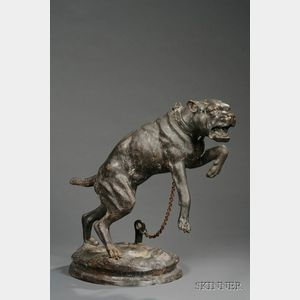 After Charles Valton (French, 1851-1918)       Large Bronze Figure of a Mastiff