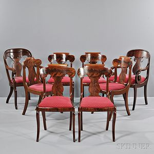 Set of Five Mahogany Veneer Grecian Dining Chairs, a Similar Side Chair, and Two   Similar Armchairs,