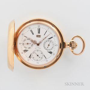 Custom-made 18kt Gold Triple Calendar Hunter Case Watch