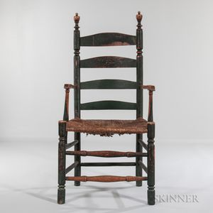 Green-painted Ladder-back Armchair
