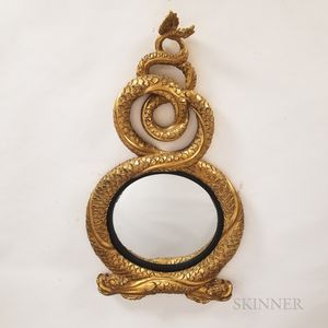 Regency-style Carved Giltwood Dolphin-form Convex Mirror