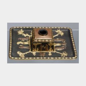 Wedgwood Gilded and Bronzed Black Basalt Inkstand