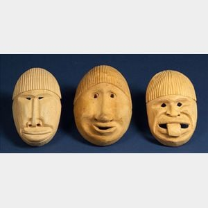 Three South American Carved Wood Masks