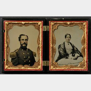Two Quarter Plate Ambrotype Portraits of a Union Officer and His Wife