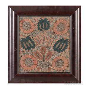 Ottoman Silk and Metal Thread Embroidery Panel
