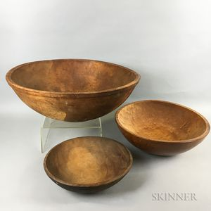 Three Large Turned Maple Bowls