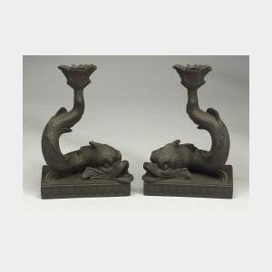 Pair of Wedgwood Black Basalt Dolphin Candlesticks